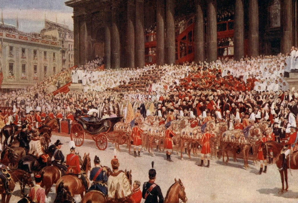 St. Paul's Cathedral: Queen Victoria's Diamond Jubilee, June 22nd, 1897. Painted by Andrew Carrick Gow.