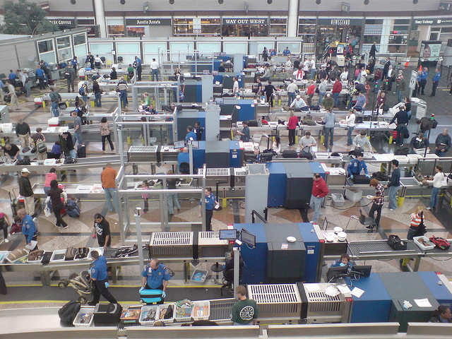 Photo by Inha Leex Hale of the security screening at Denver Airport.