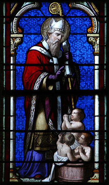 Stained glass window of St. Nicholas in Joinville, France.