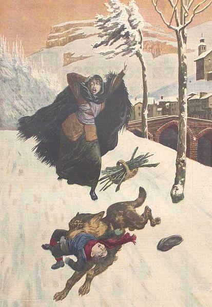 wolf snatching a child