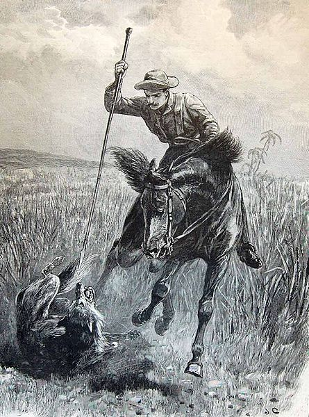 The hunter on horseback spearing a wolf