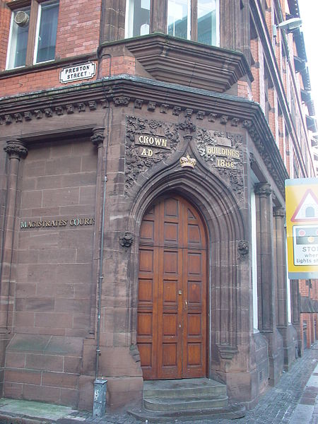 Entrance to the Magistrates' Court buildings on the corner of Preston Street and Victoria Street, Liverpool, England. Photo by Green Lane.