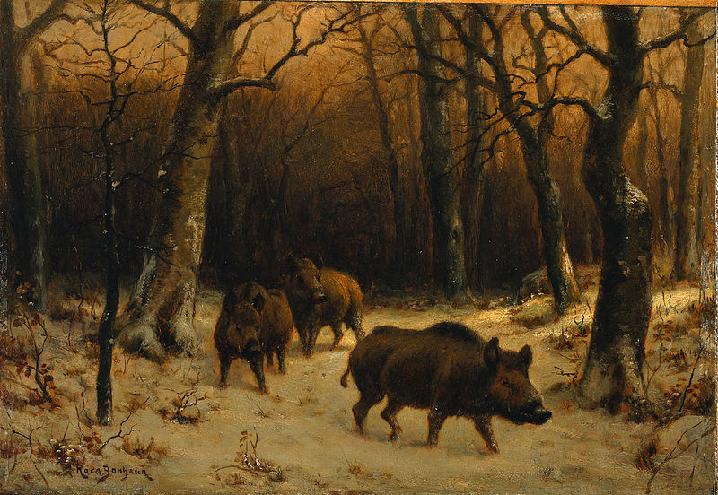 Wild Boars in the Snow painted by Rosa Bonheur