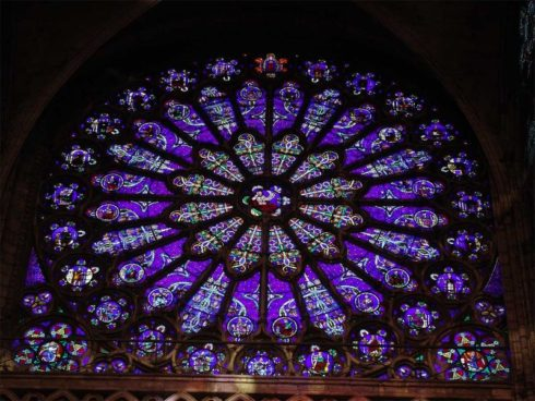 Rose window in Basilica of St Denis, France, depicting the ancestors of Our Lord from Jesse onwards.