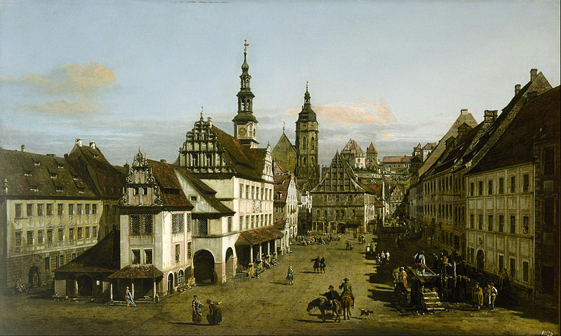 The Marketplace at Pirna. Painting by Bernardo Bellotto