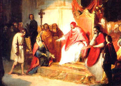 Henry IV begging forgiveness of Pope Gregory VII at Canossa, the castle of the Countess Matilda, 1077.