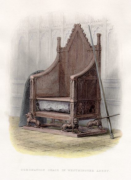 """Coronation Chair and Stone of Scone. Anonymous Engraver. Published in """"A History of England (1855)"""