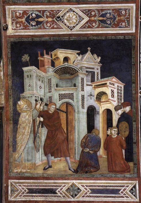 St Nicholas Saving Three Innocents from Decapitation by Palmerino Di Guido.