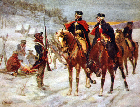 George Washington and Lafayette at Valley Forge. Painting by John Ward Dunsmore.