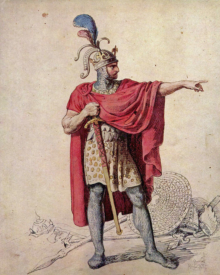 Drawing of Alfred The Great by Adolf Friedrich Erdmann Von Menzel.
