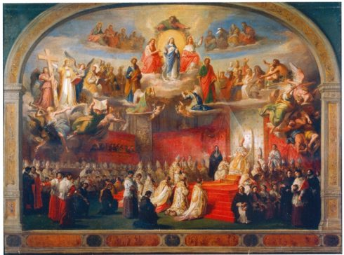 Painting of the Proclamation of the Dogma of the Immaculate Conception by Francesco Podesti in the Hall of the Immaculate within the Vatican Museums.