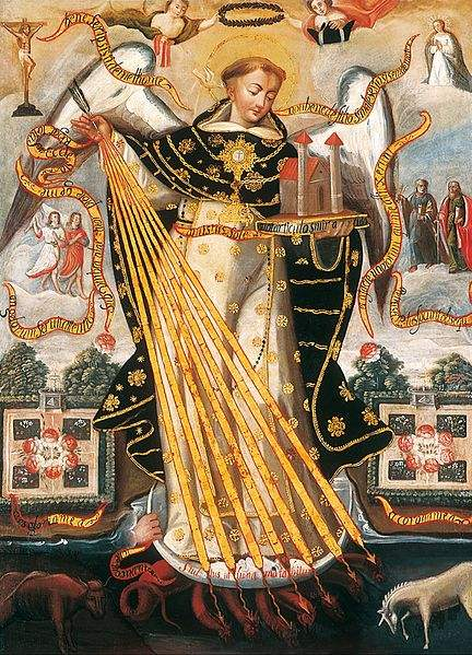 Saint Thomas Aquinas, Protector of the University of Cusco. Painting by the Cusco School.