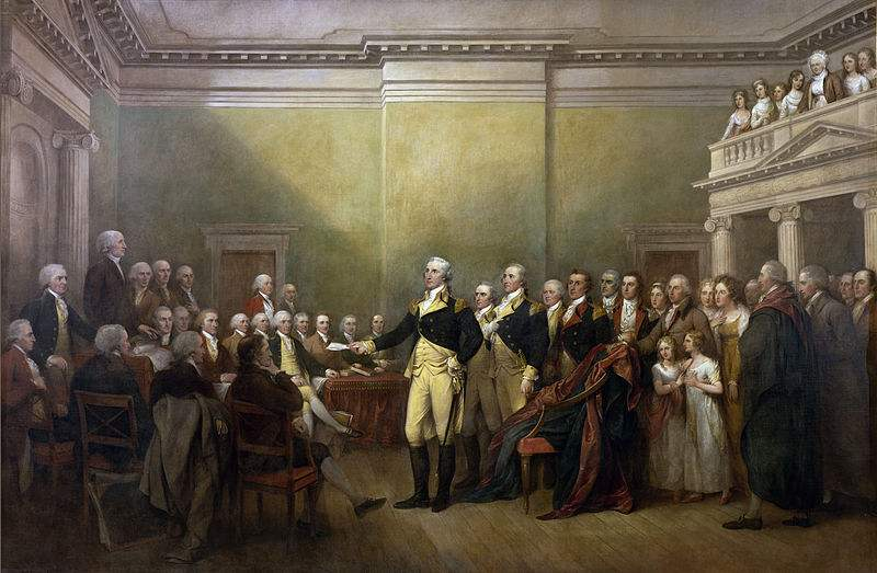 George Washington and his farewell speech, painted by John Trumbull.