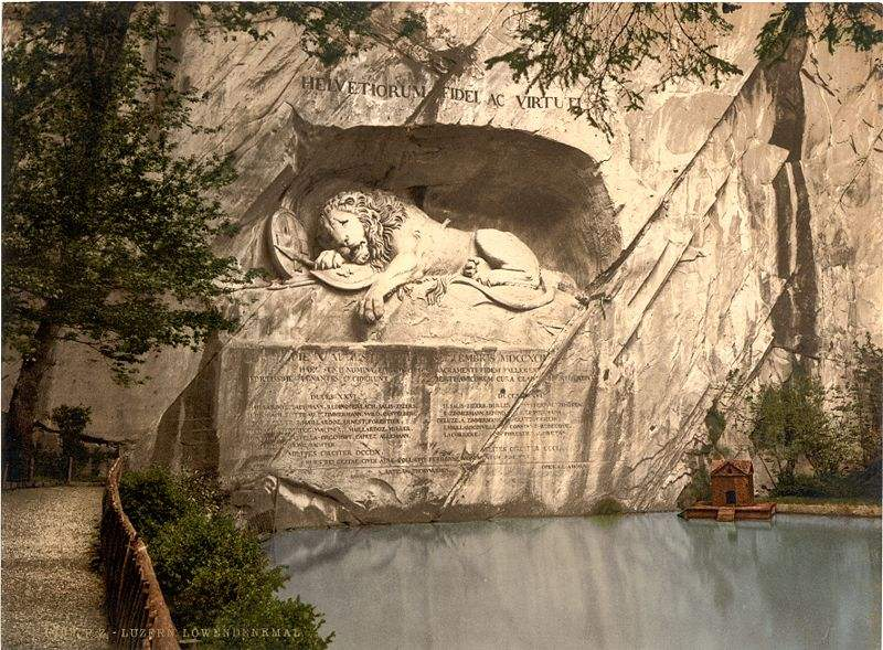 Lion of Lucerne Monument which commemorates the Swiss Guards who were massacred in 1792 during the French Revolution.