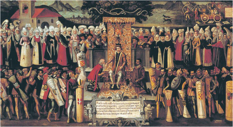King Ferdinand the Catholic and his Court. Painting by Francisco de Mendieta