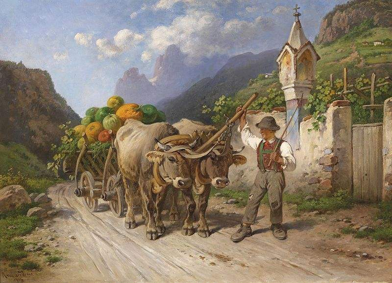 A farmer off to the market. Painting by Adolf van der Venne