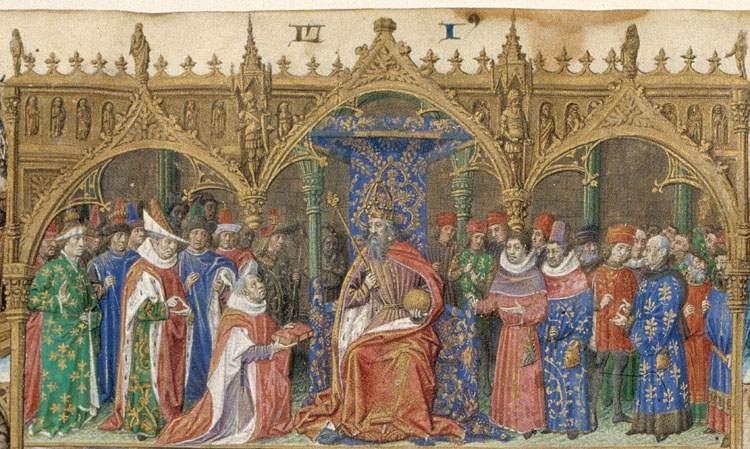 Simon de Hesdin presents his translation of the `Facta et dicta memorabilia' by Valerius Maximus to Charles V, King of France.