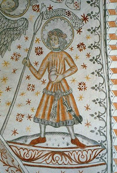 Fresco of St. Canute in Vigersted Kirke in Denmark. Photo by FredrikT.