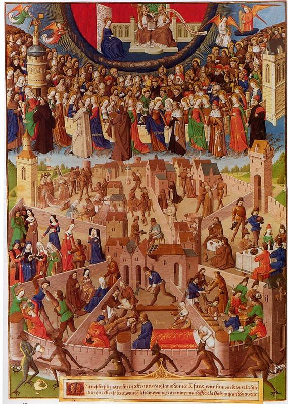 The medieval concept of the Two Cities: order below and salvation above, achieved by king and church working together.