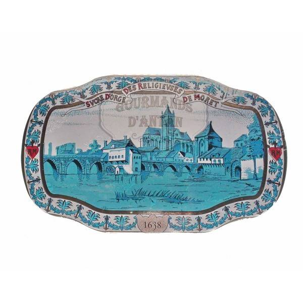 Sucre d'orge, Barley Sugar in a decorated tin with a picture of Moret sur Loing