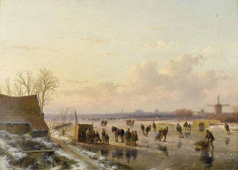 Winter landscape with skaters, Haarlem in the distance, painted by   Andreas Schelfhout.
