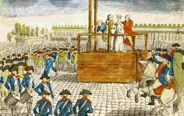Execution of Marie-Antoinette by French School.