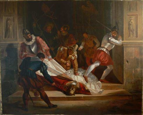 The body of St. Fulcran being desecrated by the protestant Huguenots. Painting by François Matet.