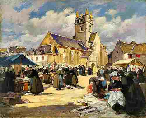 Market in Quimper, France. Painting by Henri Alphonse Barnoin