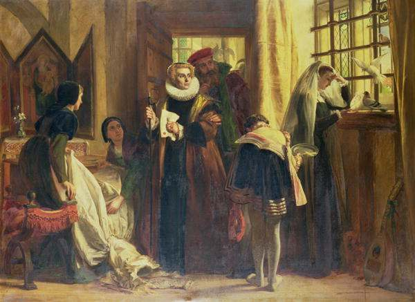 Mary, Queen of Scots, in captivity. Painting by John Callcott Horsley.