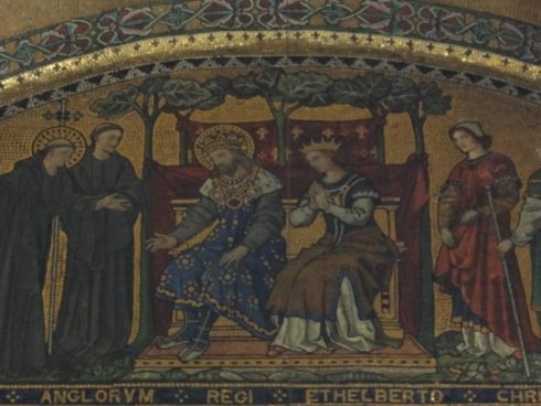 The Conversion of St Ethelbert by St. Augustine. Detail of a mosaic by Clayton & Bell in the chapel of St Gregory and St Augustine in Westminster Cathedral.