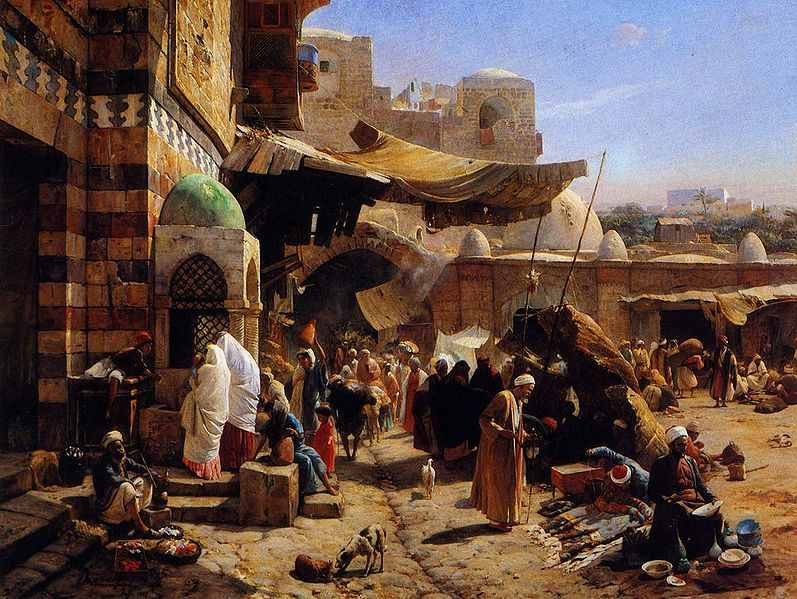 Painting of a Market at Jaffa by Gustav Bauernfeind.