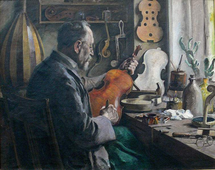 A Luthier in his Violin shop, painting by Fritz Tennigkeit