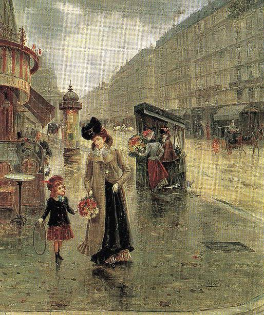 Mother and child on Soufflot street. Painting by Joaquin Pallares y Allustante