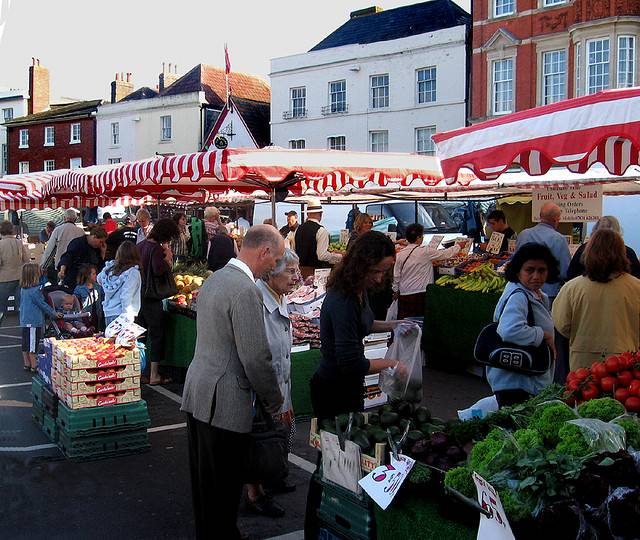 A local market in Devizes, England. Photo by crabchick