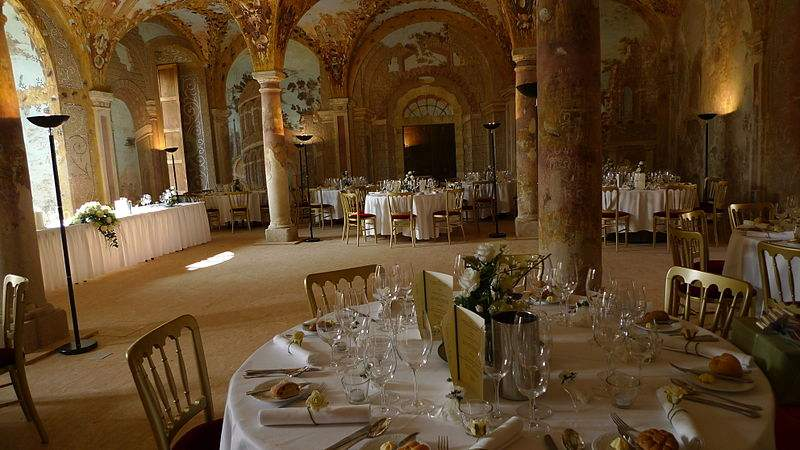 Dining area in the Sala Terrana at the Austrian Petronell Castle.