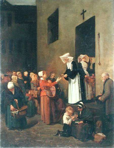 Sisters giving to the poor, painted by François Bonvin.