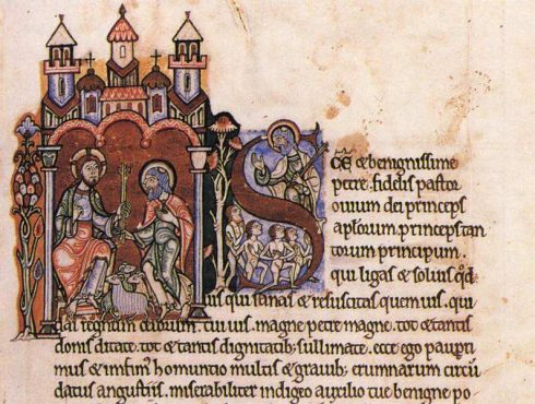 Illustrated parchment of the Meditations of St Anselm by a 12th-century painter.