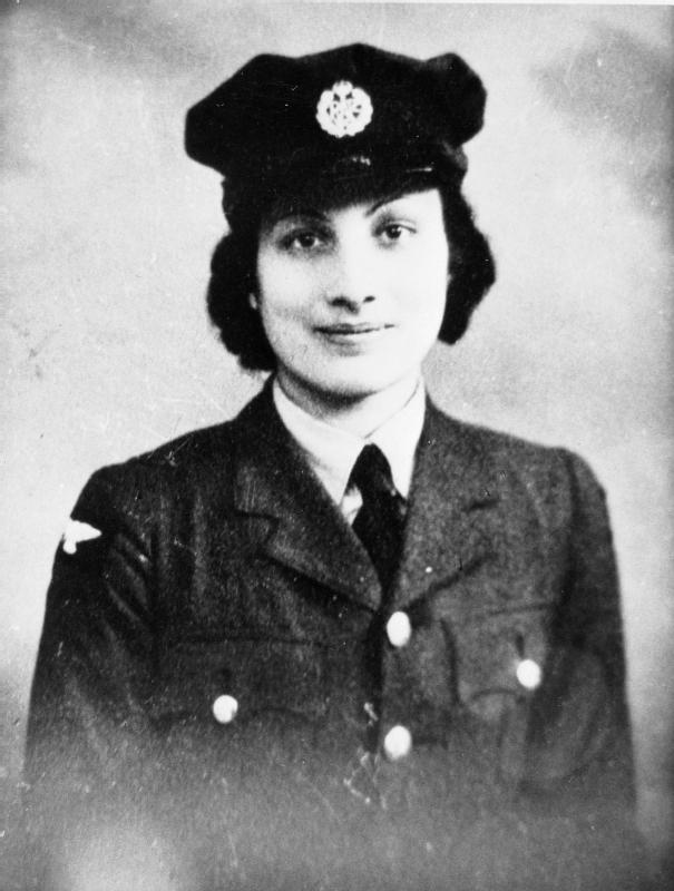 1943 photo of Princess Noor Inayat Khan (code name Madeleine), George Cross, MiD, Croix de Guerre avec Etoile de Vermeil. Noor Inayat Khan served as a wireless operator with F Section, Special Operations Executive. From the Imperial War Museum Archives.
