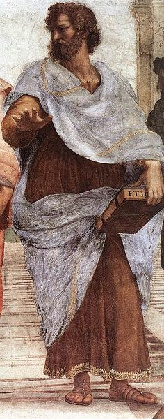Aristotle, painted by Raphael, holding his work, Ethics.