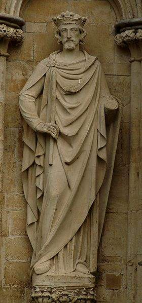 Statue of King Henry III on the West Front of Salisbury Cathedral, UK.
