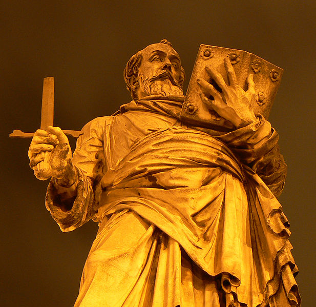 Saint Paul statue on  Ponte Sant'Angelo is a Roman bridge across the Tiber in Rome, Italy.