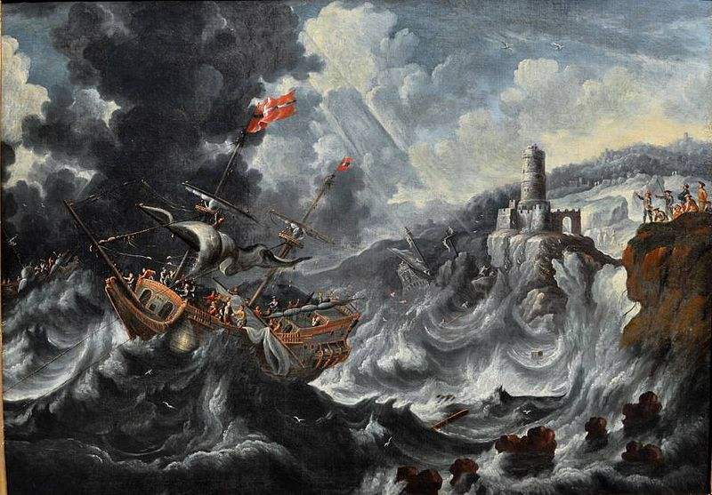 A coastal landscape with ships caught in a storm. Painting by Cornelis Mahu.