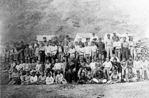 Father Damien and 64 boys of the leper settlement, taken in 1889, either late February or March, weeks before his death.