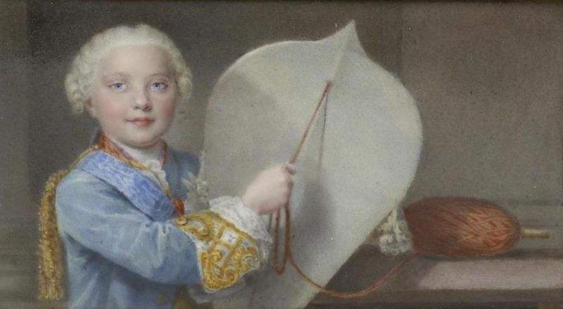 Louis, Dauphin of France, with a kite. One of 5 paintings on the outside of a snuffbox.