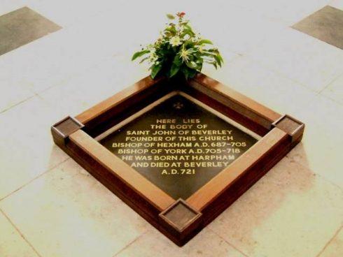Grave of St John of Beverley, buried in the nave of Beverley Minster, St John of Beverley. Photo by Graham Hermon.