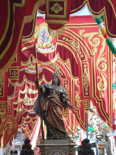 Statue of Saint Helena in procession in Birkirkara, Malta. Photo by Daniel Laus