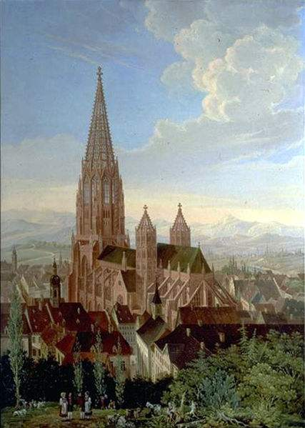 Painting of Freiburger Münster, the Cathedral of of Freiburg im Breisgau, Germany. Painting by Carl Georg Enslen.
