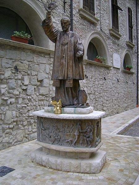 The bronze statue of St. Francis Caracciolo, beside the church in Villa Santa Maria, province of Chieti, Abruzzo.