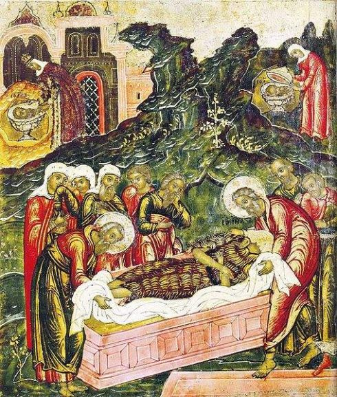 The burial of the body of St. John the Baptist.