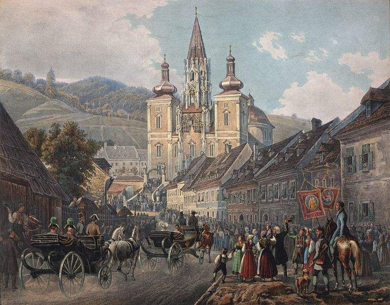 Mariazell, Austria in 1837, with the Basilica in the middle, which houses a Miraculous Image of Our Lady. Painting by Joseph Gerstmayer.